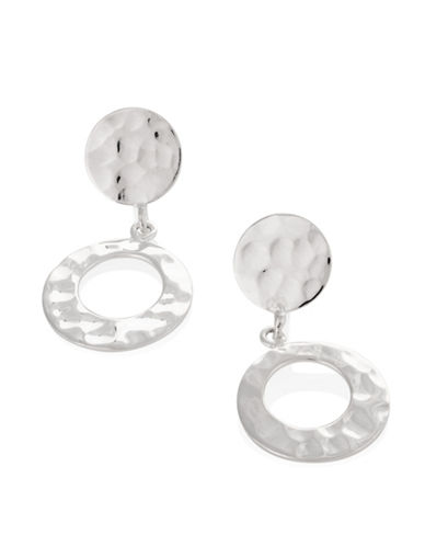 Serpentina Silver Silver Plate Designs Hammered Double Circle Drop Earrings-SILVER-One Size