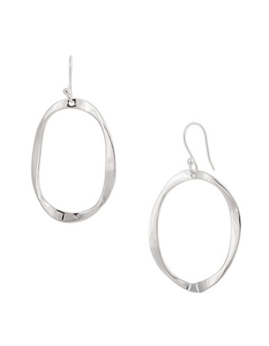 Serpentina Silver Silver Plate Designs Warped Open Oval Drop Earrings-SILVER-One Size
