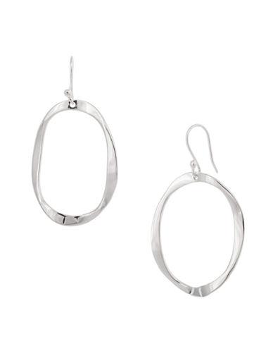 Serpentina Silver Silver Plate Designs Warped Open Oval Drop Earrings-SILVER-One Size