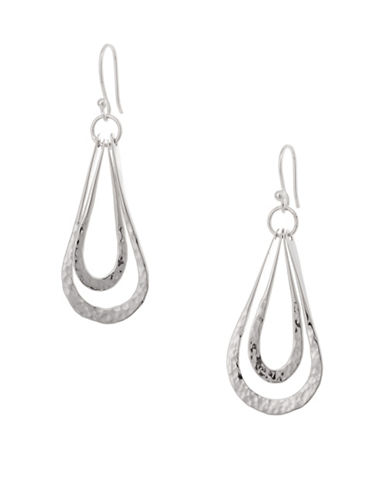 Serpentina Silver Silver Plate Designs Double Open Teardrop Earrings-SILVER-One Size