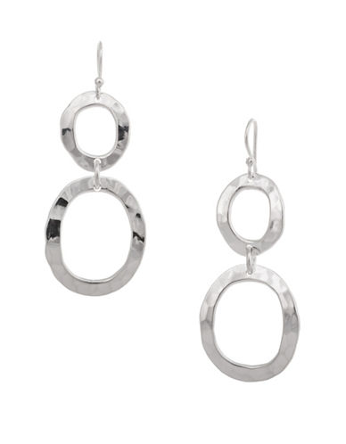Serpentina Silver Silver Plate Designs Hammered Double Oval Drop Earrings-SILVER-One Size