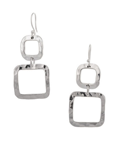 Serpentina Silver Silver Plate Designs Hammered Double Square Drop Earrings-SILVER-One Size