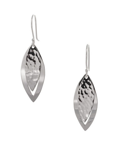 Serpentina Silver Silver Plate Designs Overlapping Leaf Drop Earrings-SILVER-One Size