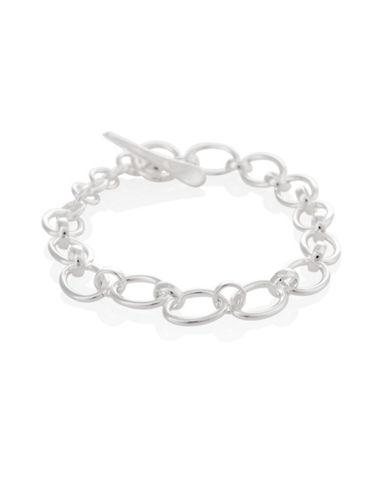 Serpentina Silver Silver Plate Designs Oval Link Bracelet-SILVER-One Size