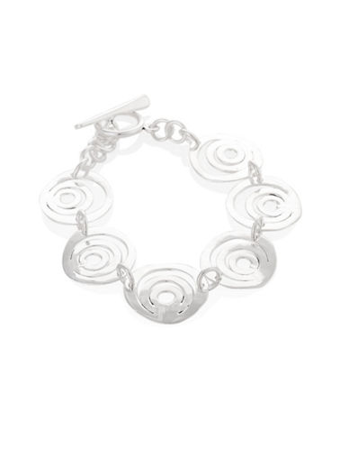 Serpentina Silver Silver Plate Designs Swirl Circle Link Bracelet-SILVER-One Size