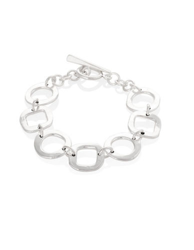 Serpentina Silver Silver Plate Designs Hammered Circle and Square Link Bracelet-SILVER-One Size