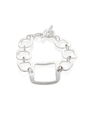 Serpentina Silver Silver Plate Designs Hammered Square Link Bracelet-SILVER-One Size