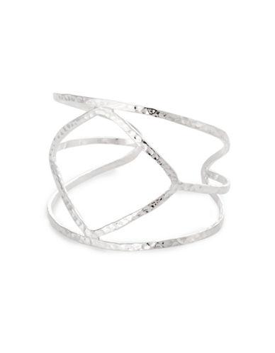 Serpentina Silver Silver Plate Designs Wide Open Geometric-Shaped Cuff Bracelet-SILVER-One Size