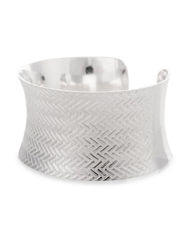 Serpentina Silver Silver Plate Designs Arrow Stamped-Pattern Wide Cuff Bracelet-SILVER-One Size