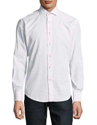 Haight And Ashbury Chelsea Dot-Print Cotton Sport Shirt-WHITE/RED-Medium