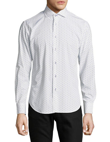 Haight And Ashbury Chelsea Dot Cotton Sport Shirt-WHITE/BLUE-Medium