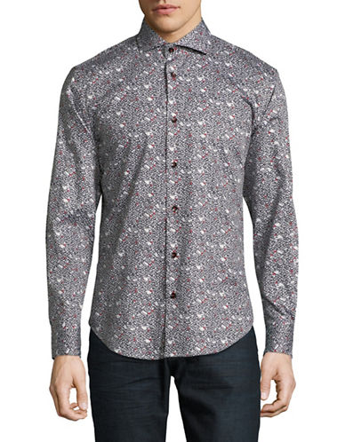 Haight And Ashbury Chelsea Geo-Print Sport Shirt-BLACK-Small