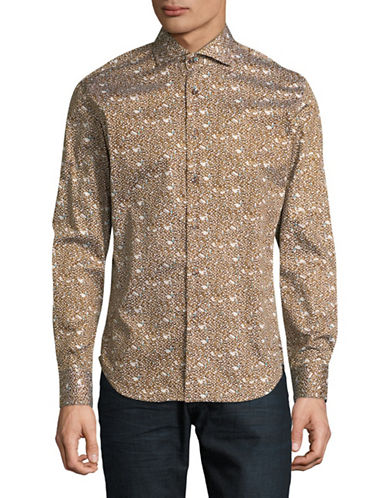 Haight And Ashbury Chelsea Dot-Print Sport Shirt-BROWN-Large