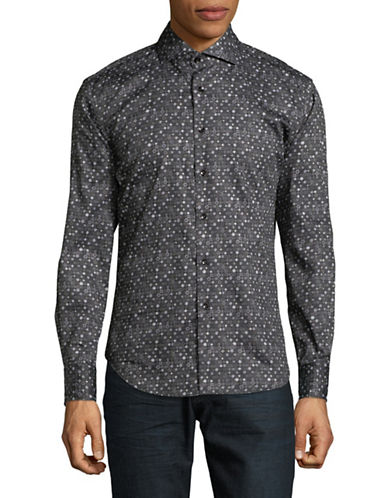 Haight And Ashbury Chelsea Geometric Sport Shirt-CHARCOAL-Large