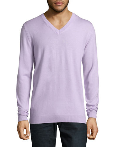 Haight And Ashbury Arsneal V-Neck Wool Sweater-PURPLE-Medium