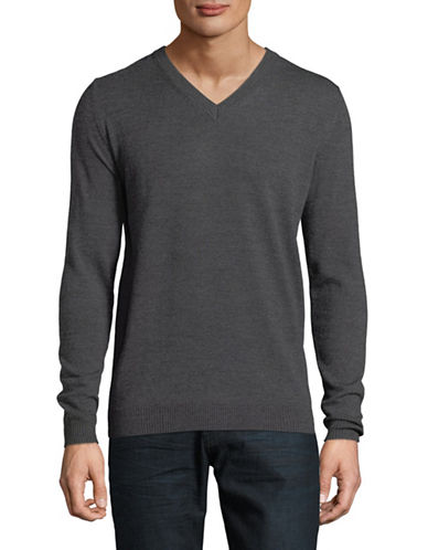 Haight And Ashbury Arsneal V-Neck Merino Wool Sweater-GREY-X-Large