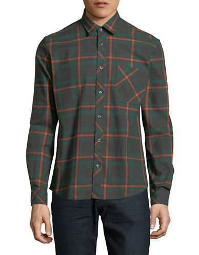 Haight And Ashbury Donavan Cotton Sport Shirt-CHARCOAL-Small