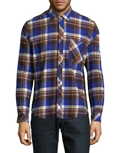 Haight And Ashbury Donavan Plaid Cotton Sport Shirt-BLUE/BROWN-Medium