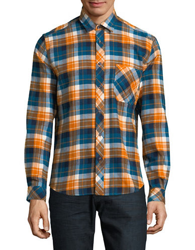 Haight And Ashbury Donavan Plaid Cotton Sport Shirt-BLUE/YELLOW-Large