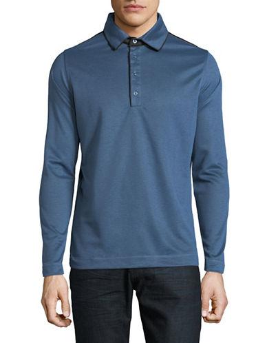 Haight And Ashbury Colourblock Long-Sleeve Polo-BLUE-Medium