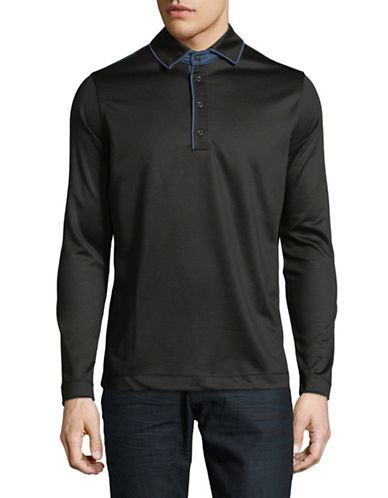 Haight And Ashbury Colourblock Long-Sleeve Polo-BLACK-Medium