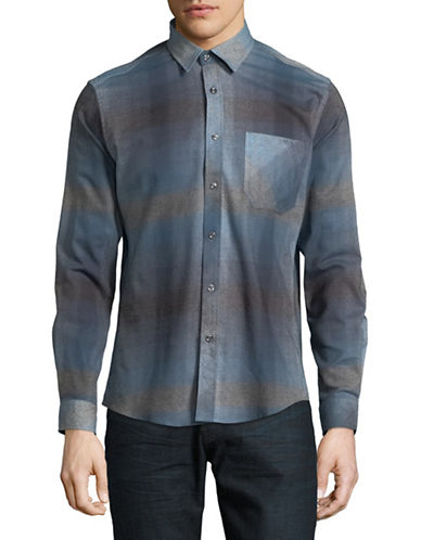 Haight And Ashbury Donavan Plaid Cotton Sport Shirt-BLUE-Large