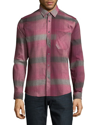 Haight And Ashbury Donavan Plaid Cotton Sport Shirt-RED-Medium