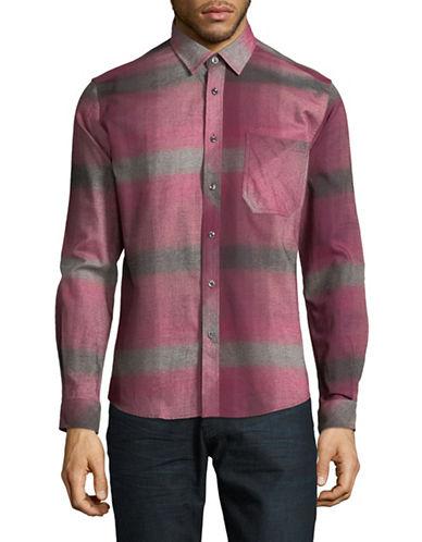 Haight And Ashbury Donavan Plaid Cotton Sport Shirt-RED-Large
