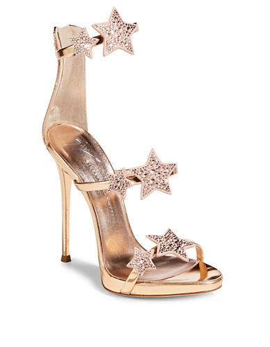 Giuseppe Zanotti Coline Stars Leather Ankle-Strap Sandals-ROSEGOLD-EUR 37.5/US 7.5