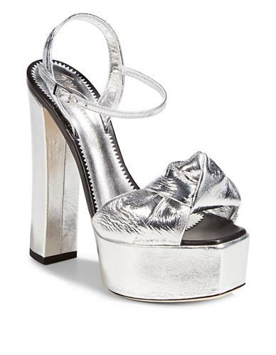Giuseppe Zanotti Lavinia Leather Platform Sandals-SILVER-EUR 39/US 9