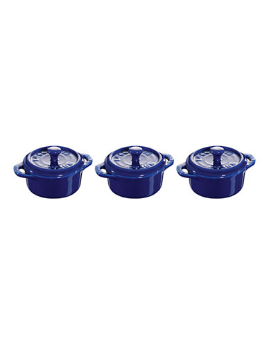 Staub Ceramic 3-Piece Round Mini Cocotte Set-BLUE-One Size