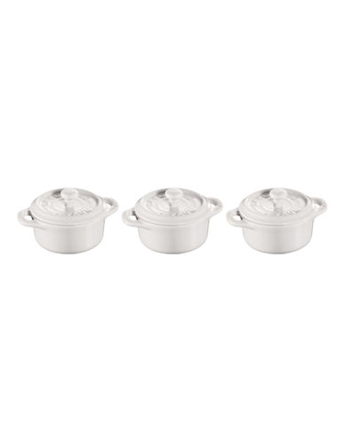 Staub Ceramic 3-Piece Round Mini Cocotte Set-WHITE-One Size