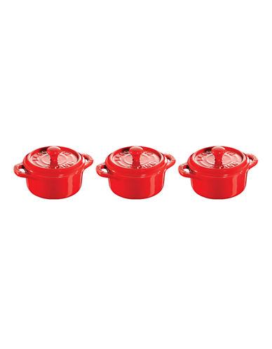 Staub Ceramic 3-Piece Round Mini Cocotte Set-RED-One Size