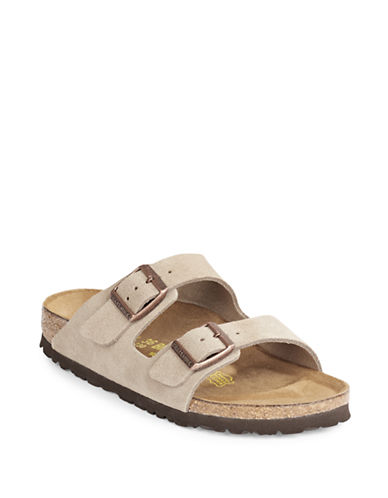 Birkenstock Womens Arizona Suede Sandals-TAUPE-EUR 40/US 9