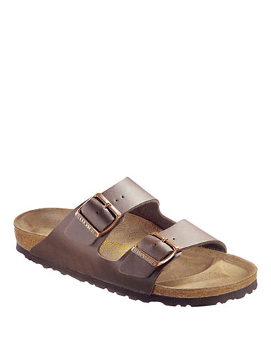 Birkenstock Womens Arizona Two-Strap Narrow Synthetic Sandals-DARK BROWN-EUR 36/US 5