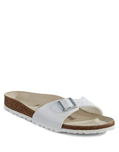 Birkenstock Womens Madrid Birko-Flor Slides-WHITE-EUR 41/US 10
