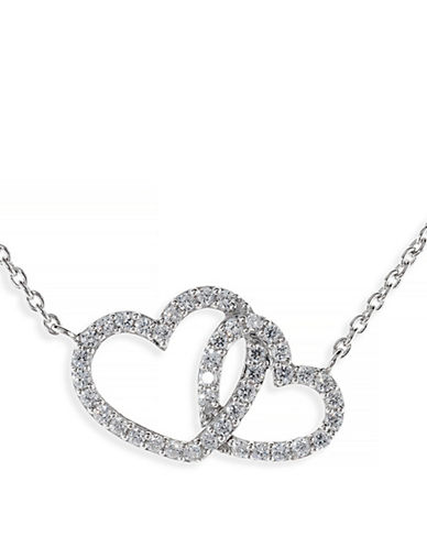 Amor Jewellery Sterling Silver Engaged Hearts Necklace-SILVER-One Size
