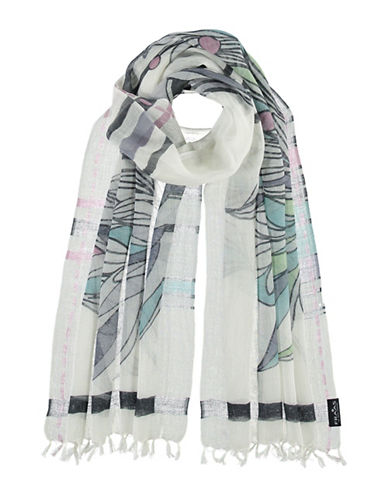 Fraas Medley Wool-Cotton-Linen Scarf-GREY-One Size