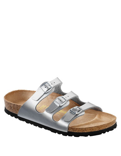 Birkenstock Womens Three-Strap Leather Sandals-SILVER-EUR 37/US 6