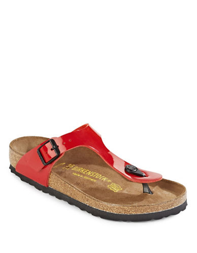 Birkenstock Womens Gizeh Thong Sandals-RED PATENT-EUR 37/US 6