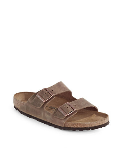 Birkenstock Mens Arizona Two-Strap Leather Sandals-BROWN-EU 41/US 8