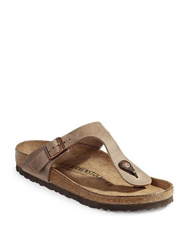 Birkenstock Gizeh Nubuck Thong Sandals-TOBACCO-EUR 36/US 5