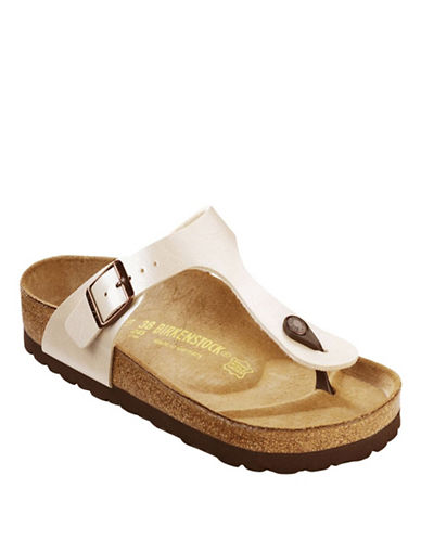 Birkenstock Womens Gizeh Thong Sandals-PEARL WHITE-EUR 36/US 6