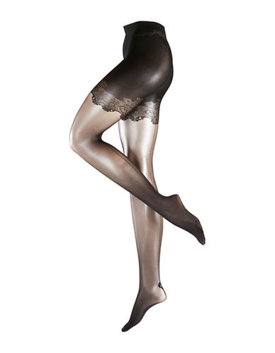 Falke Lace-Panty Transparent Tights-BLACK-Large