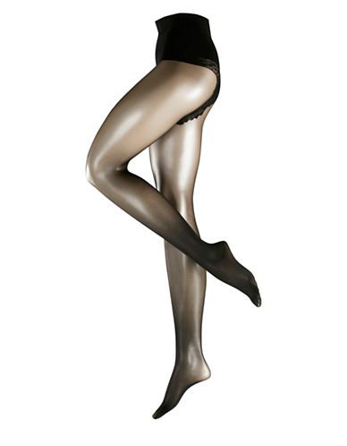 Falke Glossy Control Top Tights-BLACK-Large