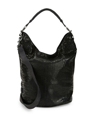 Liebeskind Vanessa Snake-Look Leather Hobo-BLACK-One Size