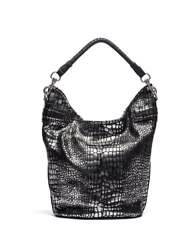 Liebeskind Vanessa Snake-Look Leather Hobo-SILVER-One Size