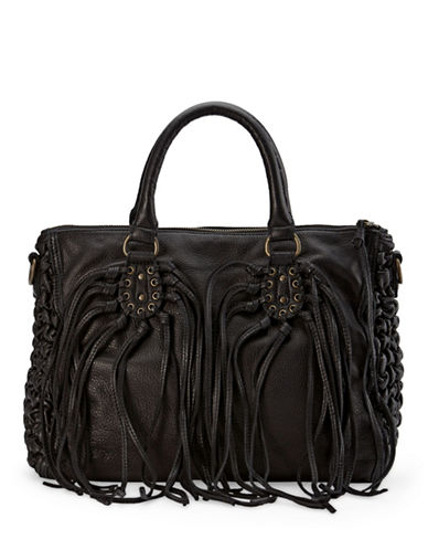 Liebeskind Noelle Leather Fringe Satchel-BLACK-One Size
