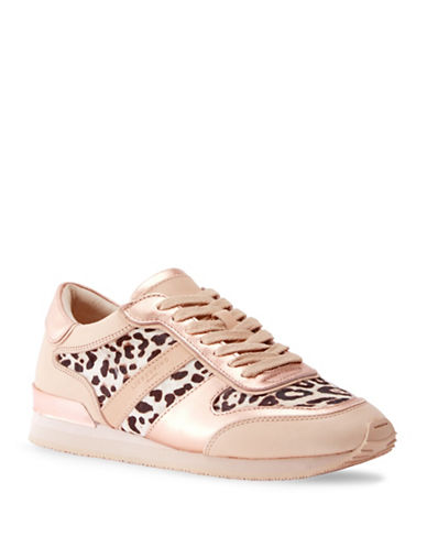 Liebeskind Lace-Up Leopard Leather Sneakers-PEACH-EUR 38/US 8