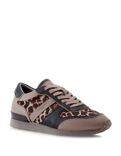 Liebeskind Lace-Up Leopard Leather Sneakers-GREY-EUR 36/US 6